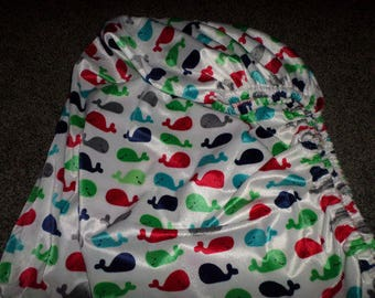Fitted Crib Mattress, Minky Whale Print, Crib Toddler Fitted Sheet,, Standard Size, Elastic All Around