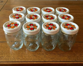 Kerr Country Kitchen Jam & Jelly Jars with White Bands and Decorated Lids / One Dozen 12 oz Jars and Caps / Kerr Jelly Jars