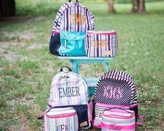 Monogrammed Backpack Set | Monogrammed Back Pack and Lunchbox | Lunch Pail | Back to School | Teen Backpack | School Set | Jadelynn Brooke