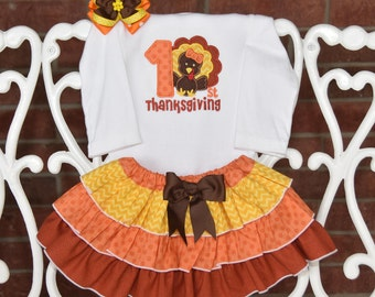 3 pc. My 1st Thanksgiving Outfit! Baby Girl First Thanksgiving Outfit/Thanksgiving outfit for baby girls/Thanksgiving pumpkin outfit/baby
