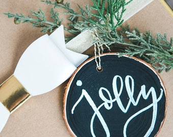 """Hand Lettered Wood slice ornament 3.5"""""""