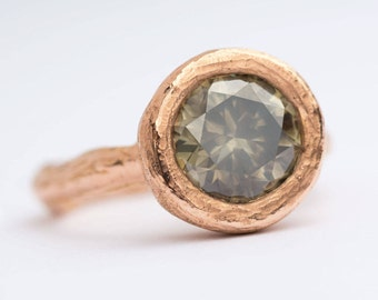 3.5ct Green Grey Diamond Engagement Ring in 18k Rose Gold hand carved bezel setting by Anueva Jewelry - Recycled Gold- 3ct - Organic Jewelry