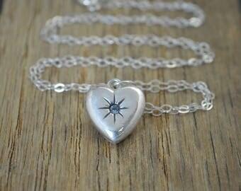 Aquamarine Heart Necklace, Aquamarine Necklace, Aquamarine Mothers Necklace Dainty Heart Necklace, Mothers Necklace, March Birthstone, Aqua