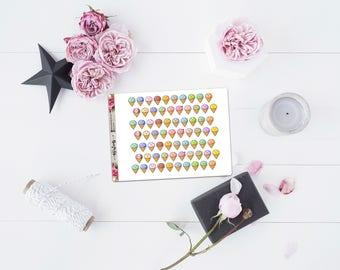 Kawaii ice cream icons matte planner stickers