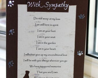 Pet sympathy card, loss of pet, positive words, sentiments help with loss of loved pet