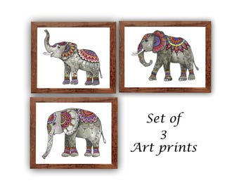 Watercolor Elephant painting, Nursery kids room decor, 3 piece wall decor, Elephants Painting Picture Poster, Zentangle Doodle Paisley Art,