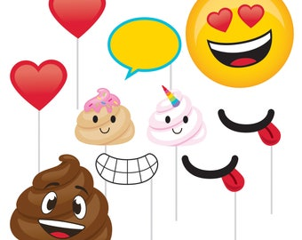 Emoji Party props  /emoji theme party / emoji/ photo booth/ party props / emoji party supplies /emoji props