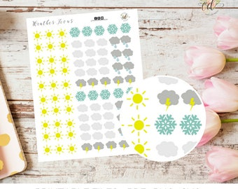 Weather Planner Stickers | Two Dollar Tuesday | Sticker Sheets | Planner Accessories | Weather Stickers | Weather Icons | Funtional Icons