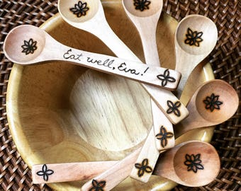 Baby Spoon, toddler spoon, woodburned spoon, bamboo spoon, baby's first spoon, eco friendly, non toxic, bamboo, reusable, READY TO SHIP