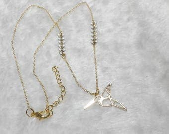 Gold necklace white origami Hummingbird
