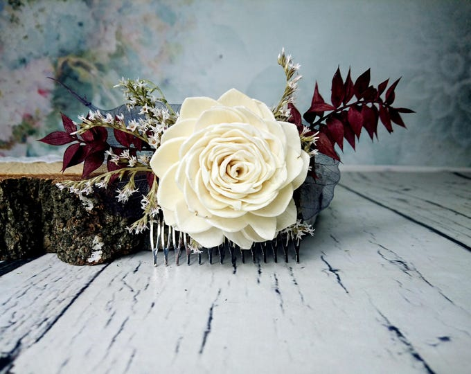 Burgundy and blue rustic HAIR COMB with sola flower and skeleton leafs