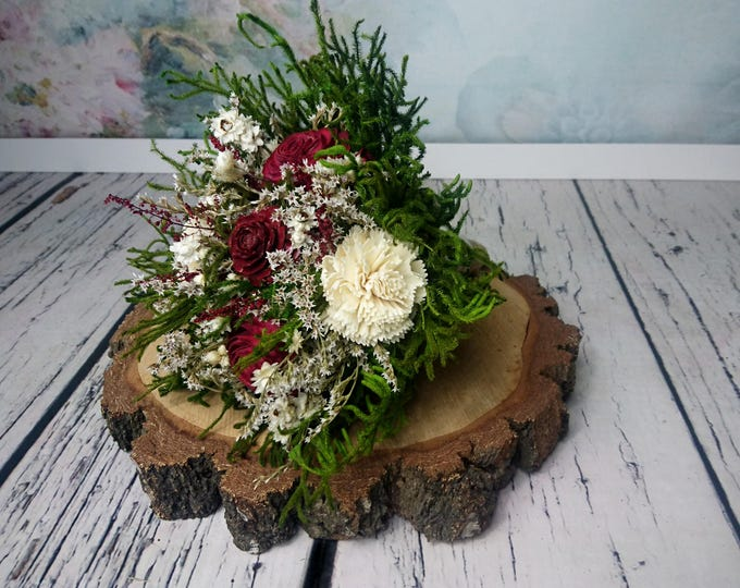 Small bridesmaids BOUQUET burgundy deep red wine rustic woodland wedding sola dried preserved flower greenery cedar rose Burlap Lace natural