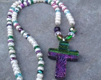 Multi-Colored Cross Necklace with Freshwater Pearls/Glass Cross Necklace with Pearls/Cross Necklace with Pearls/Glass Cross Necklace