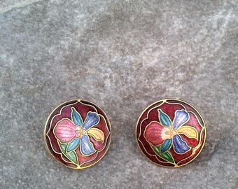 Red Cloisonne Earrings/Red Flower Cloisonne Earrings, Flower Cloisonne Earrings/Cranberry Flowered Earrings/Dark Red Flower Earrings