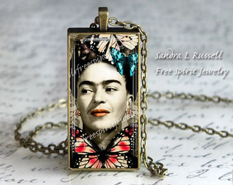 Frida Kahlo Necklace, Unique Frida Necklace,Bohemian Jewelry, Alter Photography, Woman Artist, Mexican Artist,Frida Kahlo gift