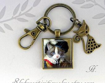 Cat Gift Key Chain, Cats Pendant, Photo Image Key Chain, Animals, Cat lover Gift, Gray Cat, orange cat, Pets, Gift under ten