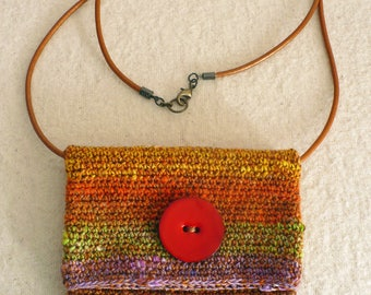 neck bag 8 .... crocheted bag, with warm colors for all your little things.
