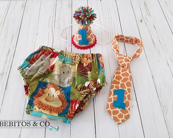 Boys Safari 1st Birthday Diaper Set, Safari Cake Smash Outfit, Boy Jungle Outfit, Safari Photo Prop Outfit, Safari Diaper Hat and Necktie