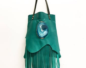 Turquoise Handbag, Turquoise Tote, Turquoise Leather Tote