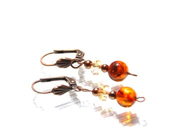 Amber and crystal earrings