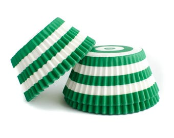 Green Striped Cupcake Liners // Green Baking Cups (Qty 50)