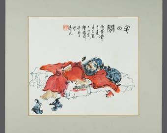 Vintage Japanese Watercolor Painting Sleeping Man Red Robe Asian Art 9.5 x 10.5