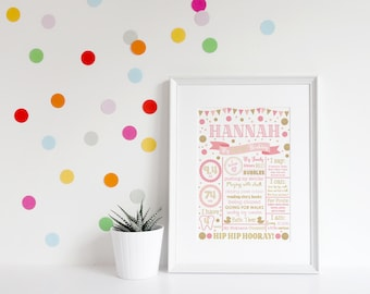Pink and Gold First Birthday, First Birthday Poster, First Birthday Board, Milestone, Printable, Digital, Girl, Boy