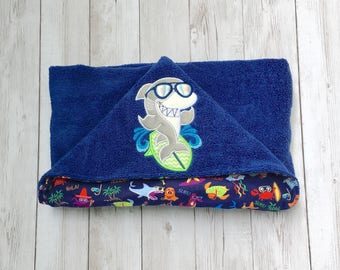 Shark Hooded Baby Towel, Shark Hooded Toddler Towel, Kid's Beach Towel, Personalized Hooded Towel, Shark Towel, Navy and Green