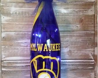 Milwaukee Brewers Wine Bottle/Glass/Lights/Bottle/Lamp/Bar/Gift/Bedroom/Decoration/Wisconsin