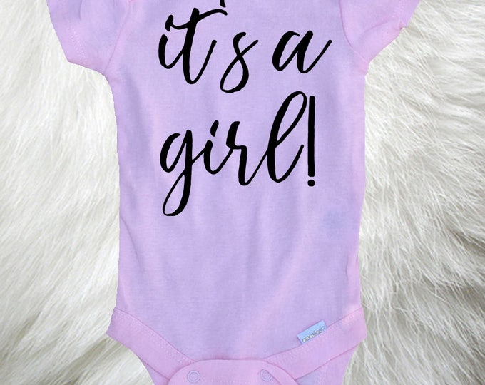 Gender Reveal Baby Girl Onesie® It's a Girl Baby Onesie®, Photo Prop Onesie®, Gender Reveal idea, Social Media reveal, Baby Announcement