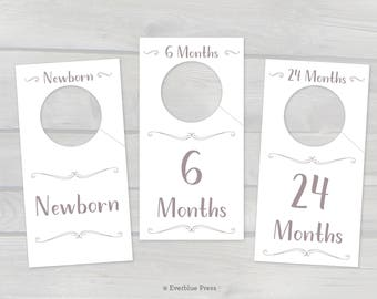 Sale Printable Nursery Closet Dividers | 8 in set | PDF Instant Download | Baby Clothes Organizer Hanger Labels | Warm Gray Lettering