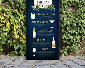 Drink Menu Signature Cocktails Large Leaning PRINTED Sign . Poppy Garland Olive Branch Magnolia Anemone Gold & Navy Chalkboard White Cream