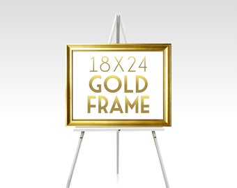 18 x 24 GOLD FRAME . Solid Maple Wood Wedding Sign Frame Rose Gold Silver White Black Rustic Ready to Hang Hardware . Sizes 5 x 7 to 30 x 40