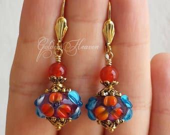 Orange Earrings Orange and blue earrings Blue and Orange Earrings Red carnelian agate earrings Colorful flowers earrings Cute Gift for her