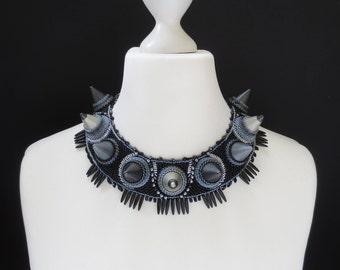statement necklace - black necklace -  gift for her - spikes necklace - tribal necklace - beaded necklace - clothing gift -