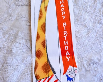 Vintage Birthday Card - Long Tall Giraffe and Mouse - Used