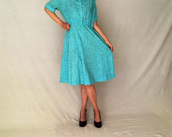 Vintage 50s cotton dress/1950s dress/day 40s 1940s 50s dress women L/retro pin-up dress/rockabilly floral midi blue short sleeve fit flare