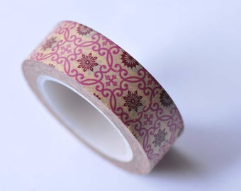 Fancy Floral Pattern Masking Washi Tape 15mm x 10M No.12755