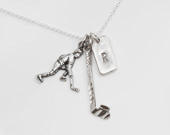 Hockey Stick and Skater Personalized Necklace, Ice Hockey Gift,  Initials, Skater Gift, Gift for Hockey Player, Hockey Stick