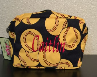 Softball Print Monogrammed Cosmetic Case Toiletry Bag