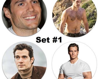 """Set of 4 Henry Cavill Large 2.25"""" Pinback Buttons or Magnets - Choose Your Favorite Set Shirtless"""