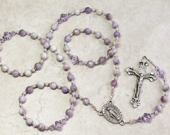 Purple Jasper & Pewter Catholic Rosary