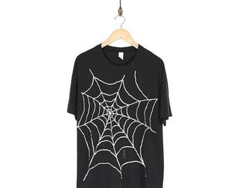 Vintage Spider Web T-shirt - 80s 90s Spider Web T-Shirt - Thrashed Black Spider Web Paper Thin T-shirt - Punk Goth Spider Web T-shirt