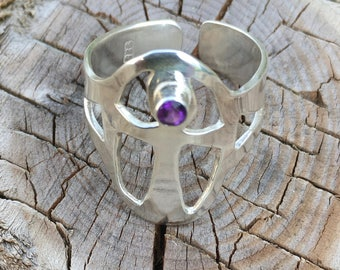Adjustable Anc Ring with Amethyst Sterling Silver Size Q +