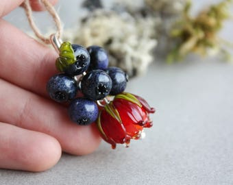 Lampwork pendant with blueberry and red flowers / Berry pendant/ Floral necklace / Artisan glass beads/ Berries jewelry/ Flower pendant