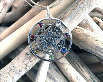 925 Sterling Silver Tetragrammaton Pentagram Pentacle Pendant Wiccan, Spiritual Jewelry, Pentacle Pendant, Pagan TAL014