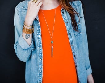 Red Coral and Turquoise Spike Necklace -Silver