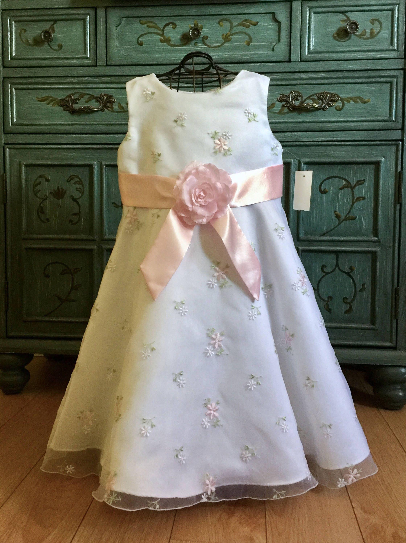 White Baptism Gown Pink Flower Girl Heirloom Princess Dress Toddler ...