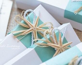 10 white box turqoise starfish scrolls beach starfish wedding invitations and white decorated boxes - Starfish Wedding Invitations