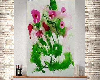 Flowers Original painting abstract art print office wall art abstract acrylic original art modern canvas print contemporary  art  original